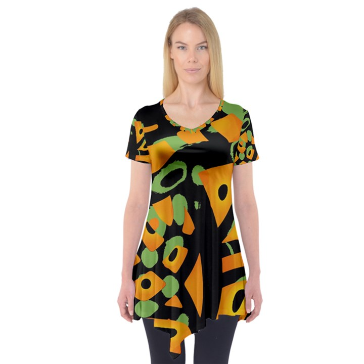Abstract animal print Short Sleeve Tunic
