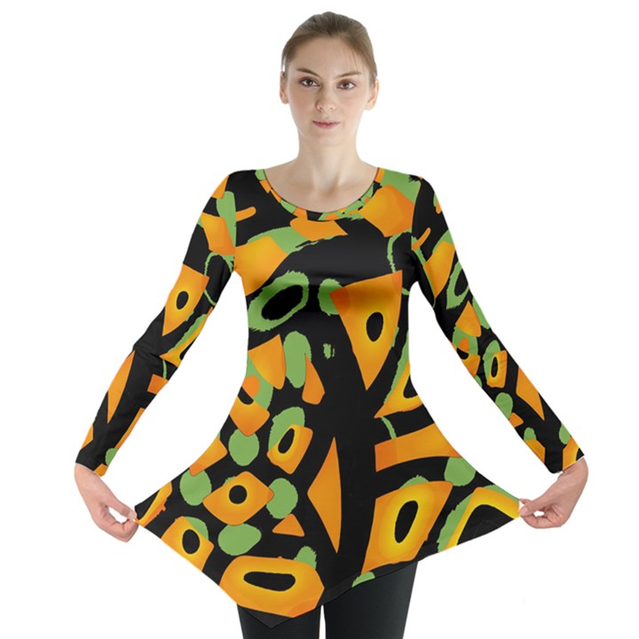 Abstract animal print Long Sleeve Tunic