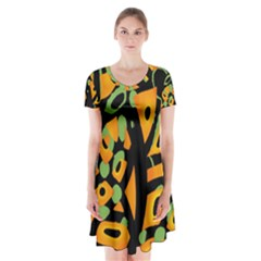 Abstract Animal Print Short Sleeve V Neck Flare Dress