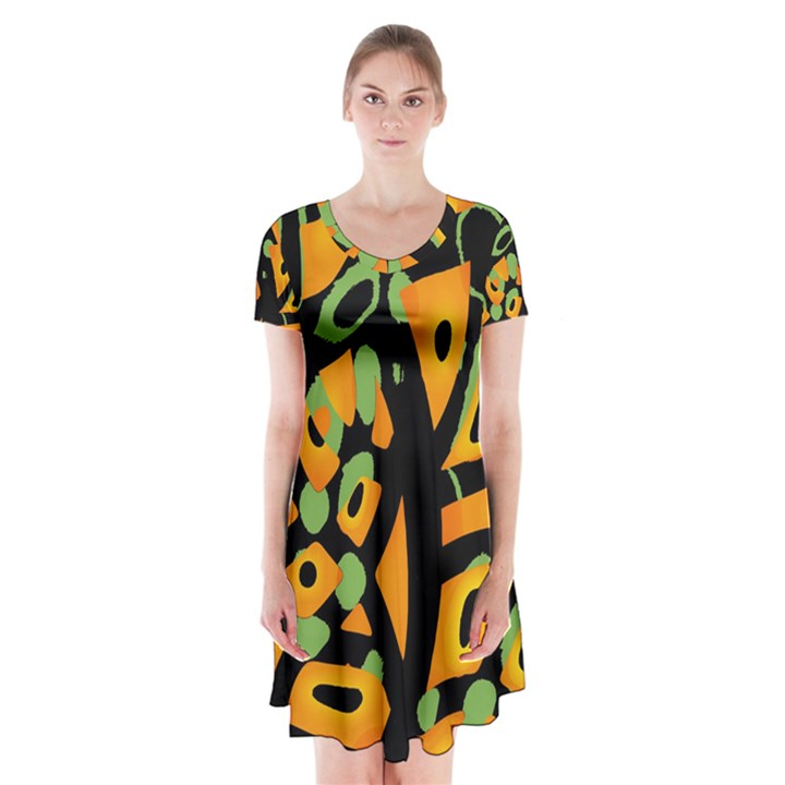Abstract animal print Short Sleeve V-neck Flare Dress