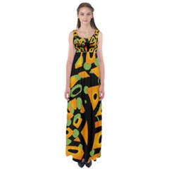 Abstract animal print Empire Waist Maxi Dress