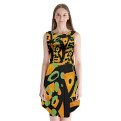 Abstract animal print Sleeveless Chiffon Dress