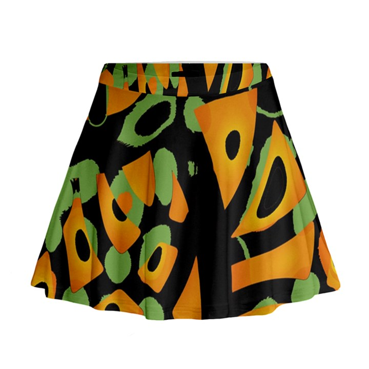 Abstract animal print Mini Flare Skirt