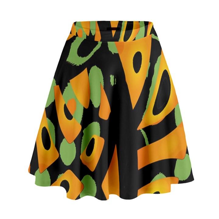 Abstract animal print High Waist Skirt