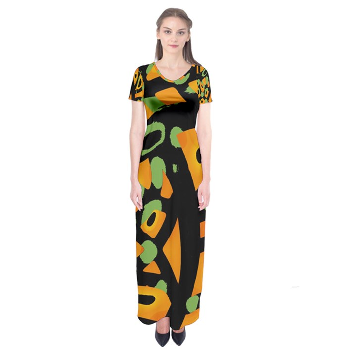 Abstract animal print Short Sleeve Maxi Dress