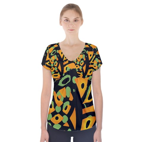 Abstract animal print Short Sleeve Front Detail Top