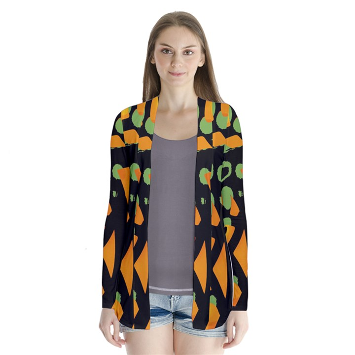 Abstract animal print Drape Collar Cardigan