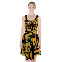 Abstract animal print Racerback Midi Dress