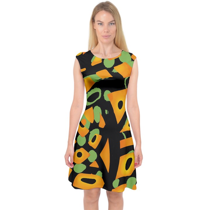 Abstract animal print Capsleeve Midi Dress