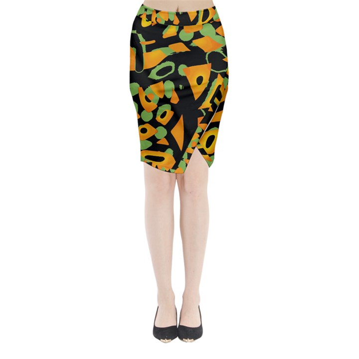 Abstract animal print Midi Wrap Pencil Skirt
