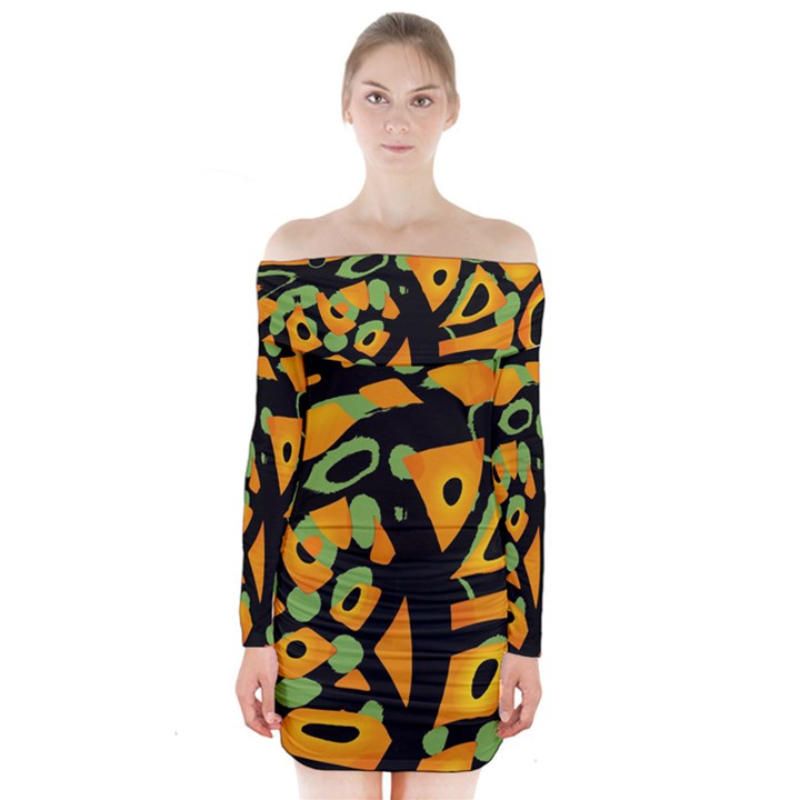 Abstract animal print Long Sleeve Off Shoulder Dress