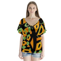 Abstract animal print Flutter Sleeve Top