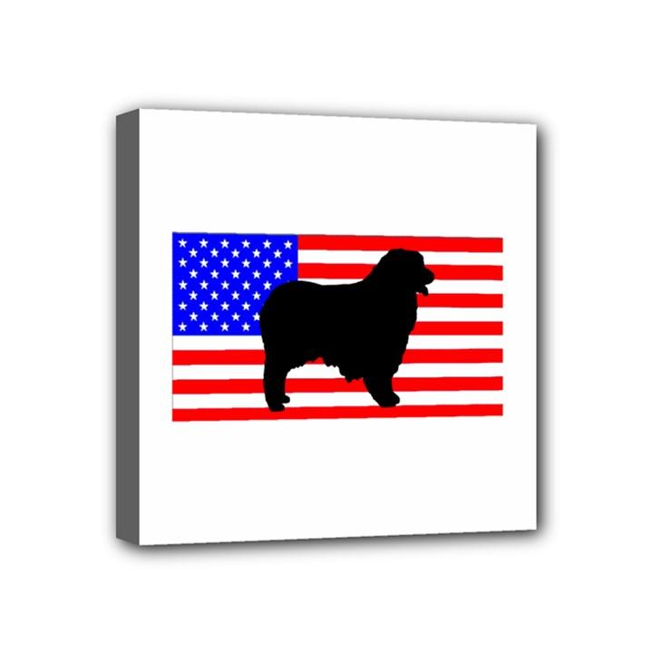 Australian Shepherd Silo Usa Flag Mini Canvas 4  x 4