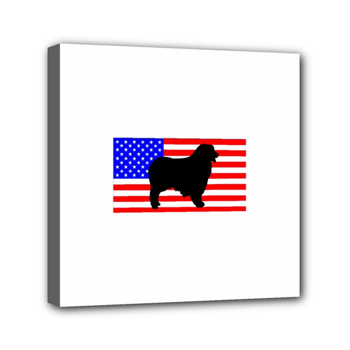 Australian Shepherd Silo Usa Flag Mini Canvas 6  x 6