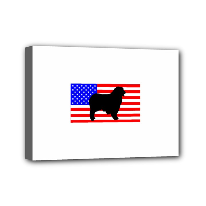 Australian Shepherd Silo Usa Flag Mini Canvas 7  x 5