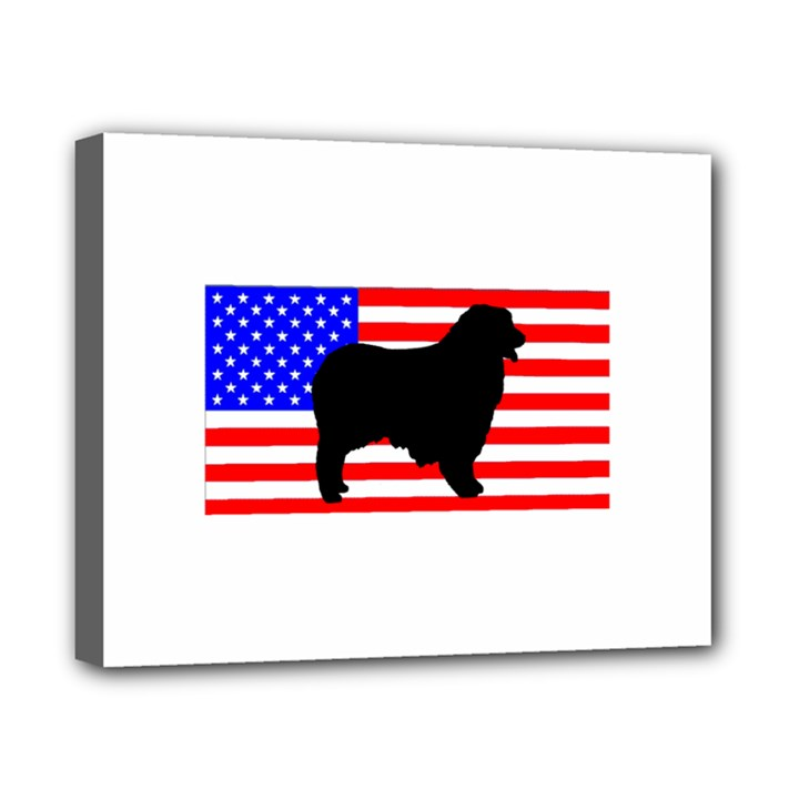 Australian Shepherd Silo Usa Flag Canvas 10  x 8