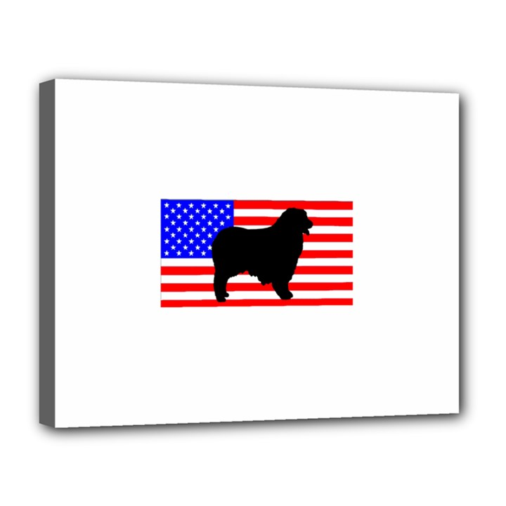 Australian Shepherd Silo Usa Flag Canvas 14  x 11