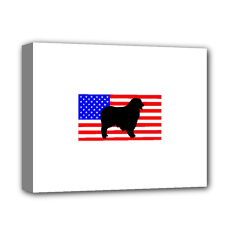 Australian Shepherd Silo Usa Flag Deluxe Canvas 14  x 11