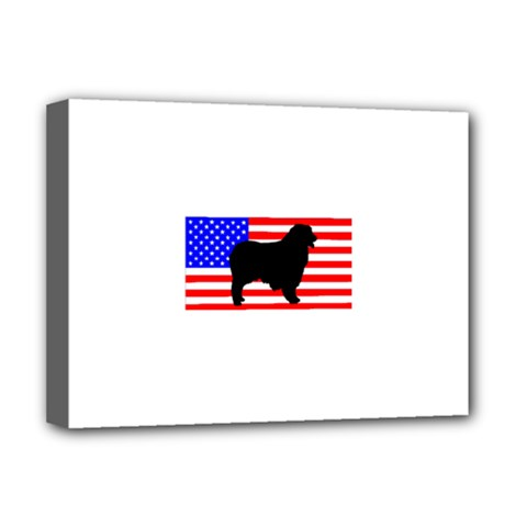 Australian Shepherd Silo Usa Flag Deluxe Canvas 16  x 12