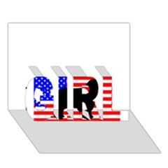 Australian Shepherd Silo Usa Flag GIRL 3D Greeting Card (7x5)