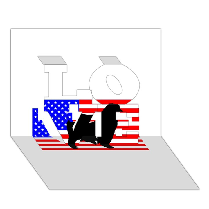 Australian Shepherd Silo Usa Flag LOVE 3D Greeting Card (7x5)