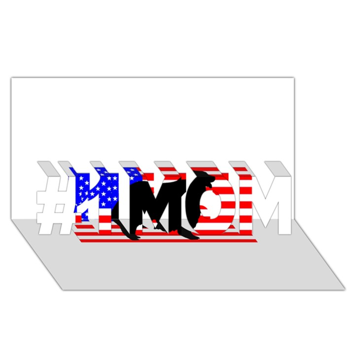 Australian Shepherd Silo Usa Flag #1 MOM 3D Greeting Cards (8x4)