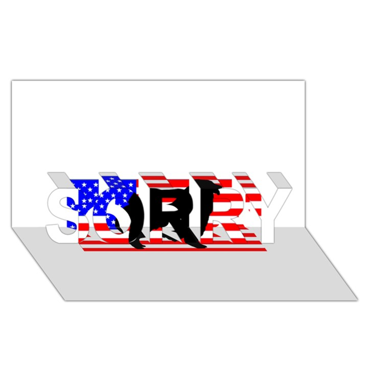 Australian Shepherd Silo Usa Flag SORRY 3D Greeting Card (8x4)