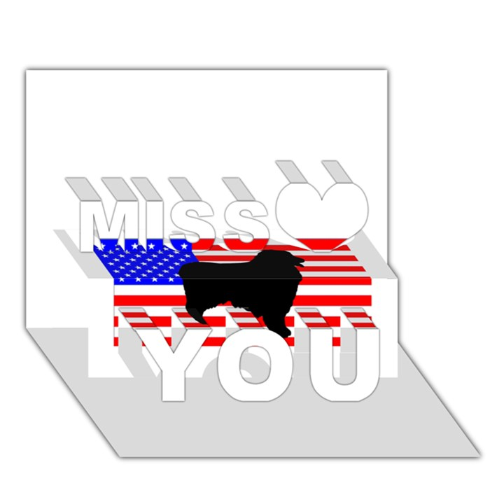 Australian Shepherd Silo Usa Flag Miss You 3D Greeting Card (7x5)