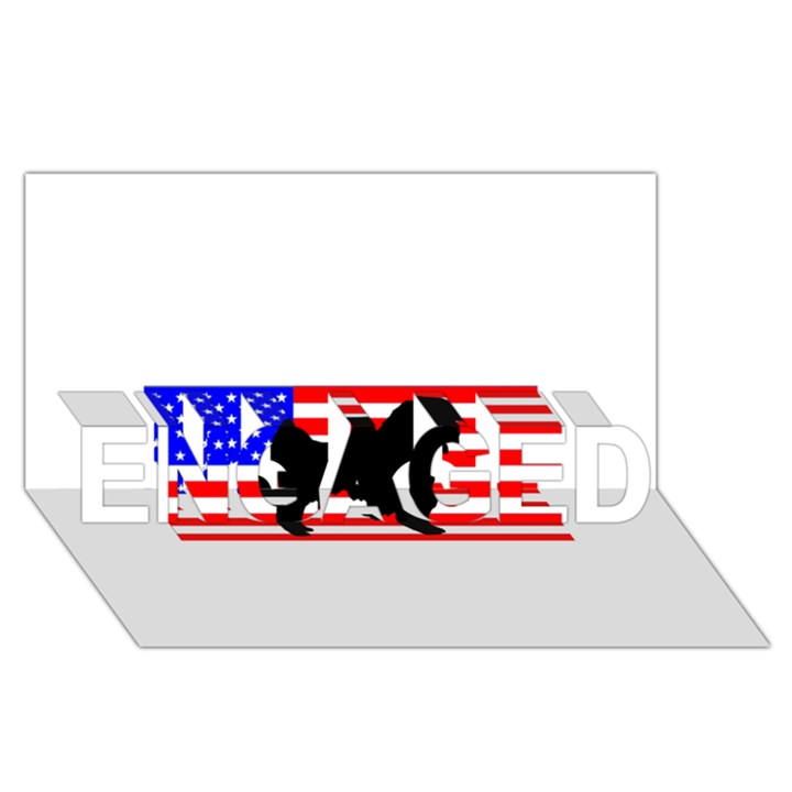 Australian Shepherd Silo Usa Flag ENGAGED 3D Greeting Card (8x4)
