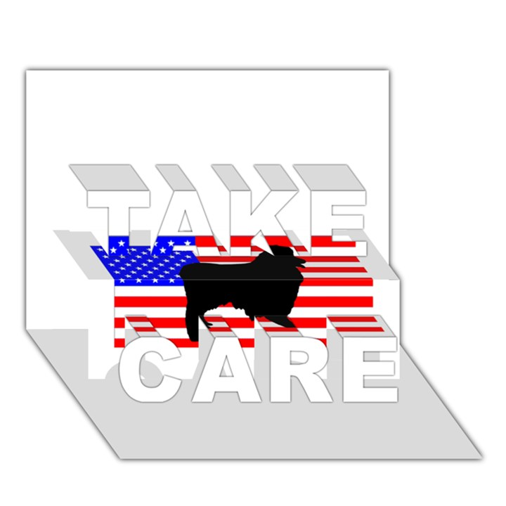 Australian Shepherd Silo Usa Flag TAKE CARE 3D Greeting Card (7x5)