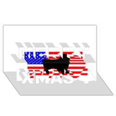 Australian Shepherd Silo Usa Flag Merry Xmas 3D Greeting Card (8x4)
