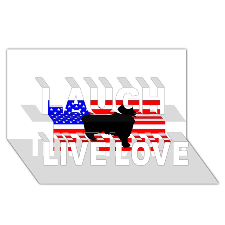 Australian Shepherd Silo Usa Flag Laugh Live Love 3D Greeting Card (8x4)