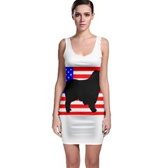 Australian Shepherd Silo Usa Flag Sleeveless Bodycon Dress