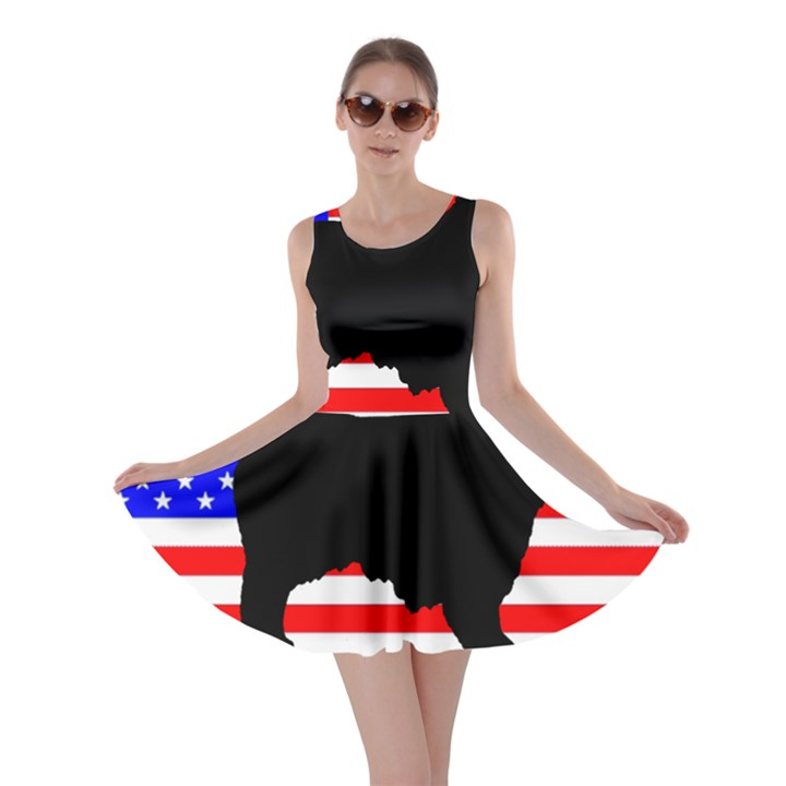 Australian Shepherd Silo Usa Flag Skater Dress