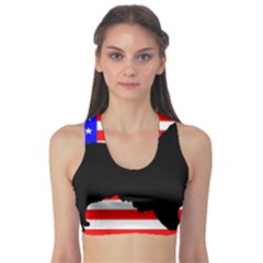 Australian Shepherd Silo Usa Flag Sports Bra