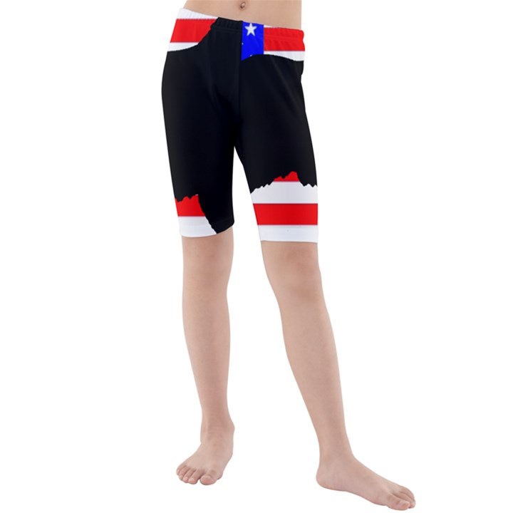 Australian Shepherd Silo Usa Flag Kids  Mid Length Swim Shorts