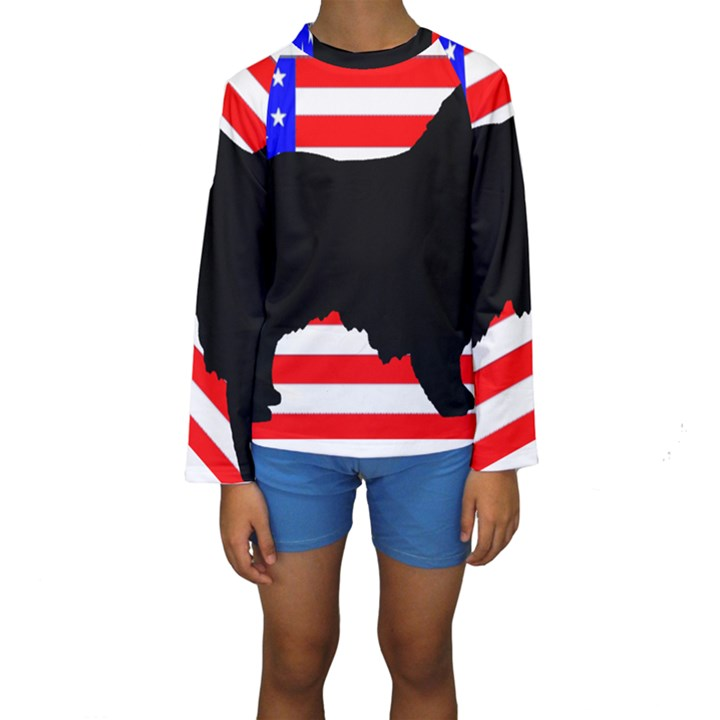 Australian Shepherd Silo Usa Flag Kids  Long Sleeve Swimwear