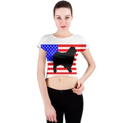 Australian Shepherd Silo Usa Flag Crew Neck Crop Top