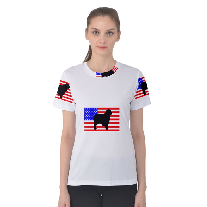 Australian Shepherd Silo Usa Flag Women s Cotton Tee