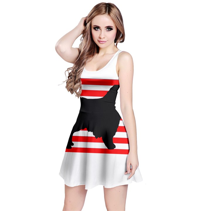 Australian Shepherd Silo Usa Flag Reversible Sleeveless Dress