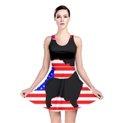 Australian Shepherd Silo Usa Flag Reversible Skater Dress