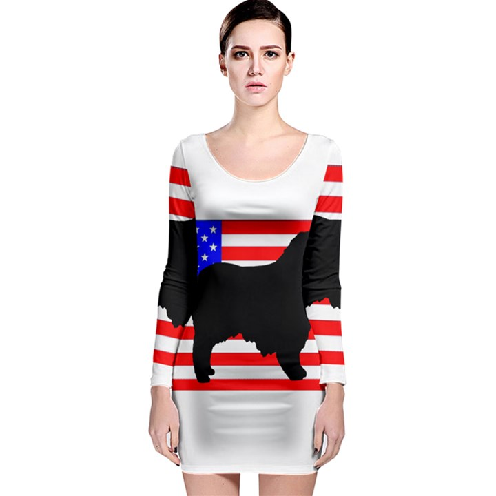 Australian Shepherd Silo Usa Flag Long Sleeve Bodycon Dress