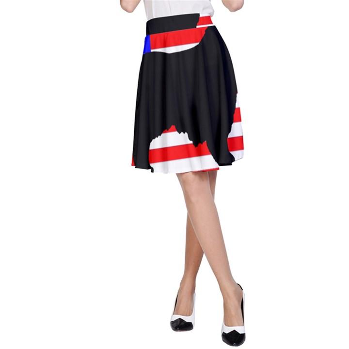 Australian Shepherd Silo Usa Flag A-Line Skirt