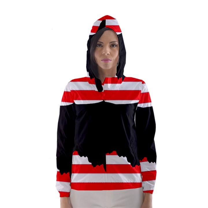 Australian Shepherd Silo Usa Flag Hooded Wind Breaker (Women)