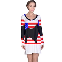 Australian Shepherd Silo Usa Flag Long Sleeve Nightdress