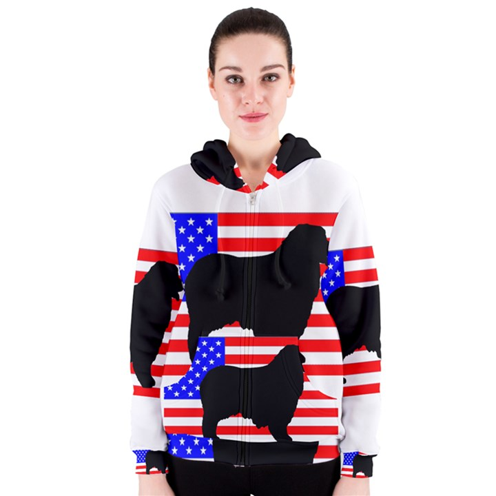 Australian Shepherd Silo Usa Flag Women s Zipper Hoodie