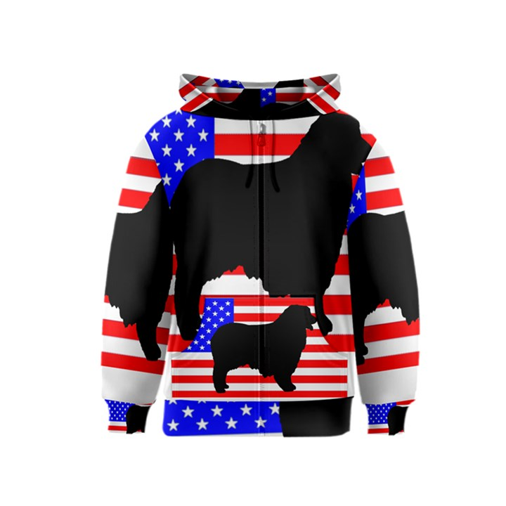 Australian Shepherd Silo Usa Flag Kids  Zipper Hoodie