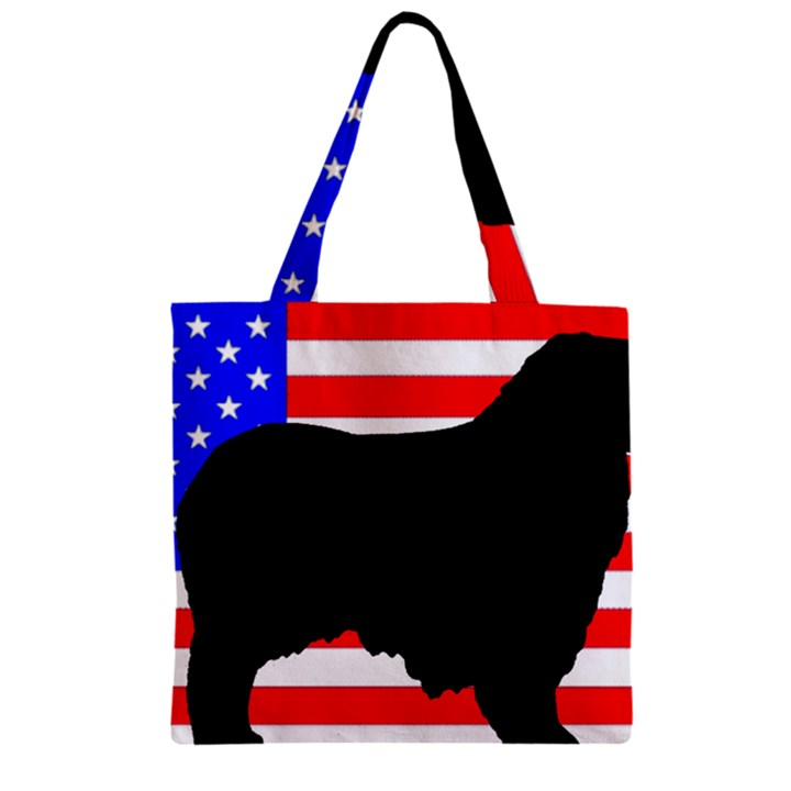 Australian Shepherd Silo Usa Flag Zipper Grocery Tote Bag