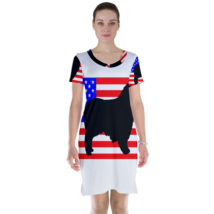 Australian Shepherd Silo Usa Flag Short Sleeve Nightdress