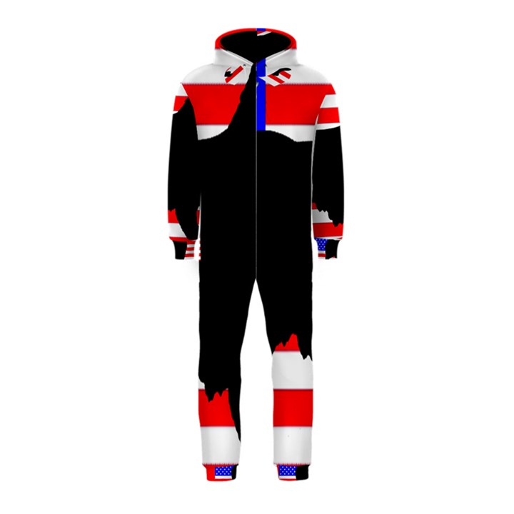 Australian Shepherd Silo Usa Flag Hooded Jumpsuit (Kids)